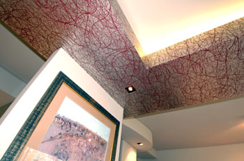 Wallpapered bulkhead detail